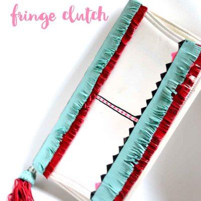 no-sew DIY fringe clutch
