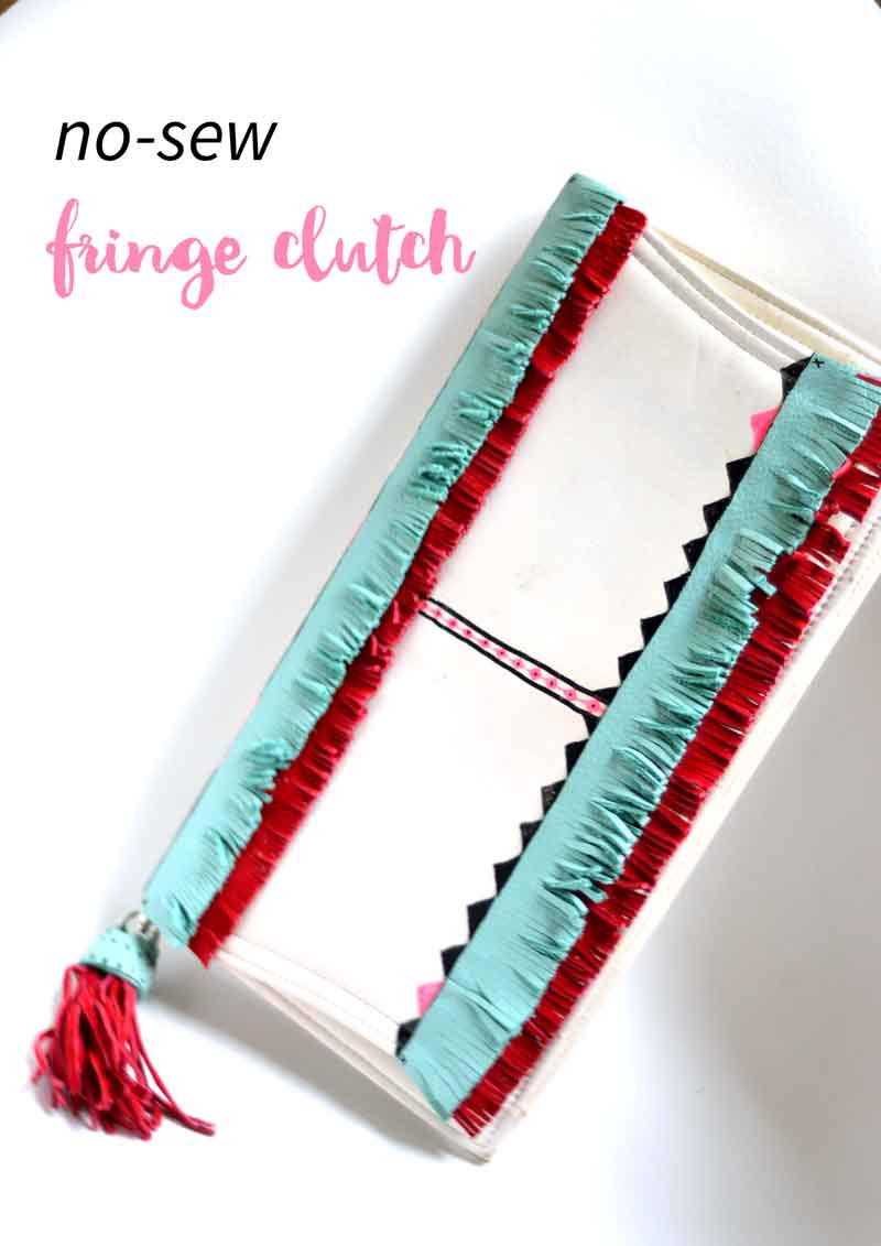 This fringe clutch is no-sew, easy to make, and a great way to update or refresh dated bags and clutches. You will use this idea for many other pieces in your closet!