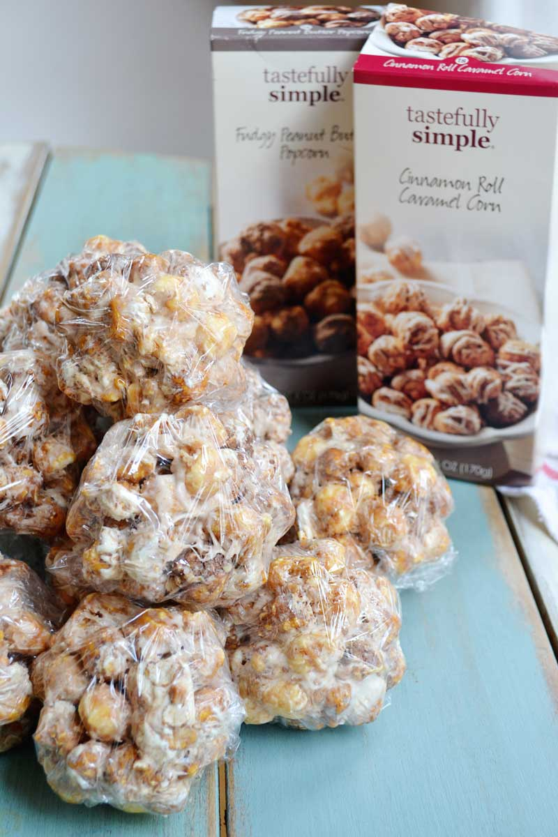 Make popcorn balls using marshmallow and butter instead of the traditional recipe