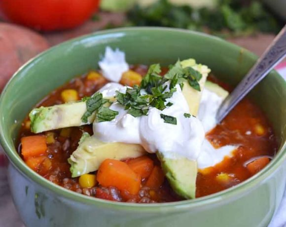 One-pot sweet potato chili reminds me of my grandma's chili with a fresh update. Kid's love the sweetness of sweet potatoes and YOU'll love the nutrients!