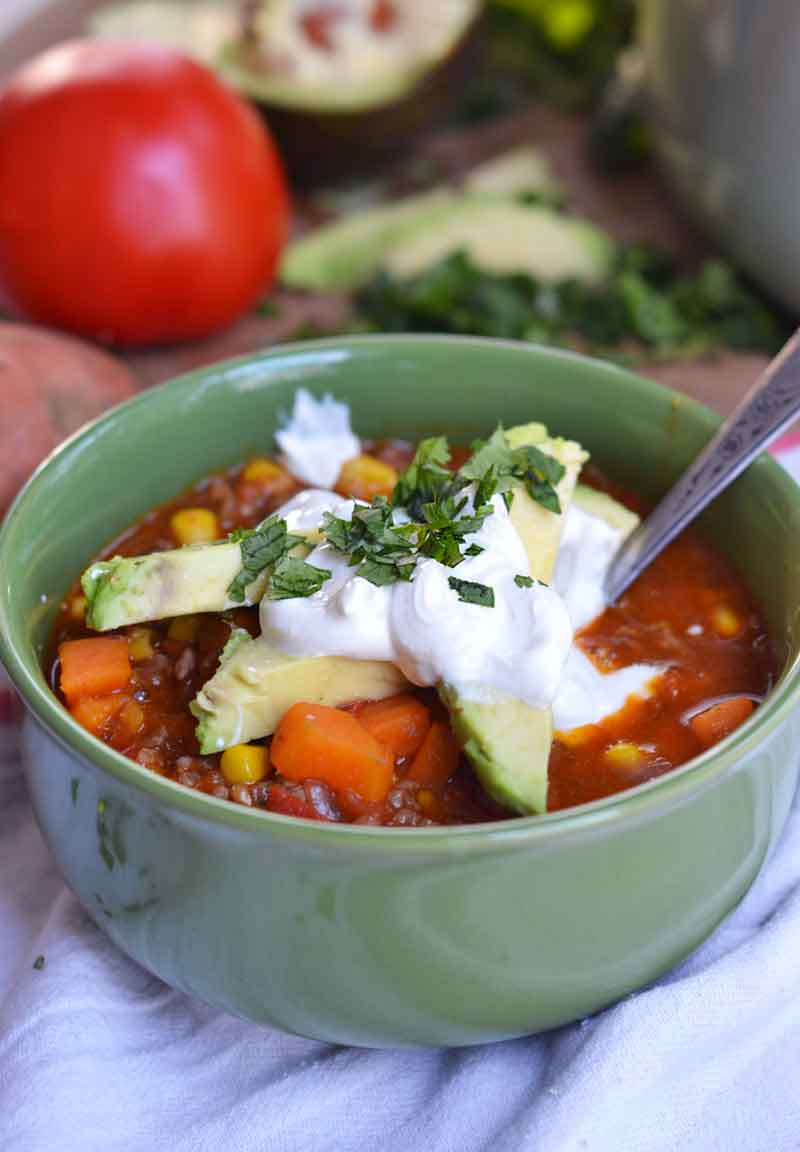 This one-pot sweet potato chili recipe is hearty, cozy, fresh, and simple. Easy to make and gets on the table quickly.
