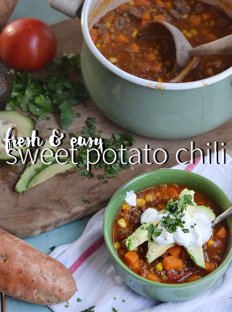 This sweet potato chili recipe is hearty, cozy, fresh, and simple. Easy to make and gets on the table quickly.