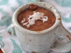This coconut chocolate pudding is made with 4 ingredients and dairy or sugar isn't one of them!