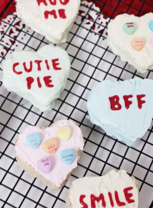 These are a great Valentine's Day treat! Conversation hearts made from Rice Krispie treats are easy and fun to make!