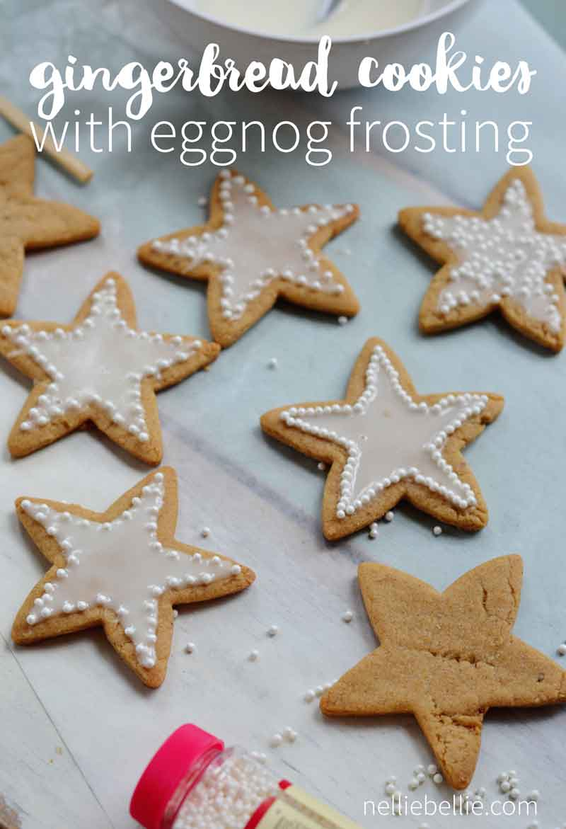 Gingerbread cookies with easy, smooth, and fast eggnog icing.