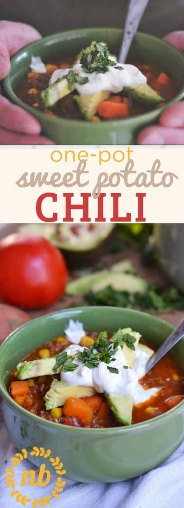 One-pot sweet potato chili reminds me of my grandma's chili with a fresh update. Kid's love the sweetness of sweet potatoes and YOU'll love the nutrients and a fast and easy dinner recipe.