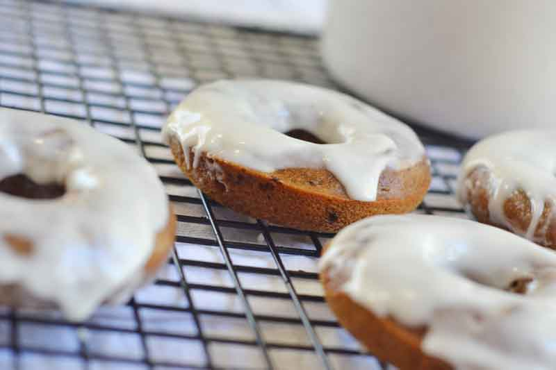 These coffee cake donuts with whiskey icing are incredibly easy and an utterly decadent start to your weekend morning!