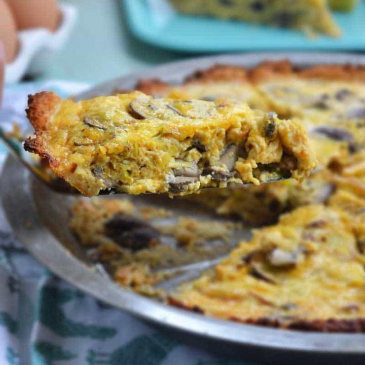 Cheddar, mushroom, and leek quiche with a cauliflower crust