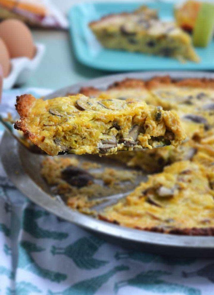 Cheddar, Mushroom, and Leek Quiche recipe with Cauliflower Crust