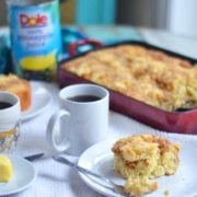 Pineapple coffee cake with coconut crumble. The perfect pairing in this rich and buttery cake perfect for Easter Sunday!