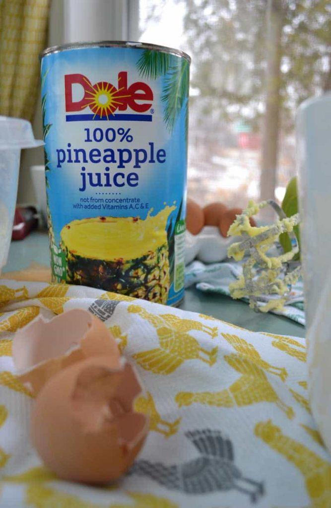 Pineapple Juice for pineapple yogurt coffee cake with coconut crumble