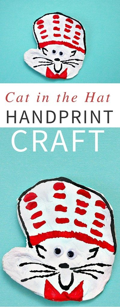 Turn your child's handprint into a Cat in the Hat with this fun and easy salt dough craft (recipe for homemade salt dough included). A great activity for Dr. Seuss' birthday.
