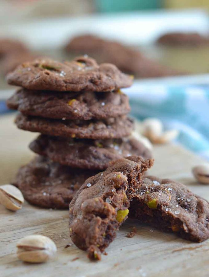 Salted Chocolate Pistachio Cookies