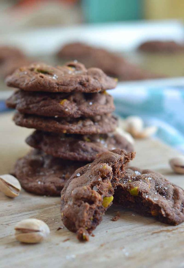 These easy salted chocolate pistachio cookies are the perfect combo of sweet and salty. Easy to follow recipe, and perfect for adults!
