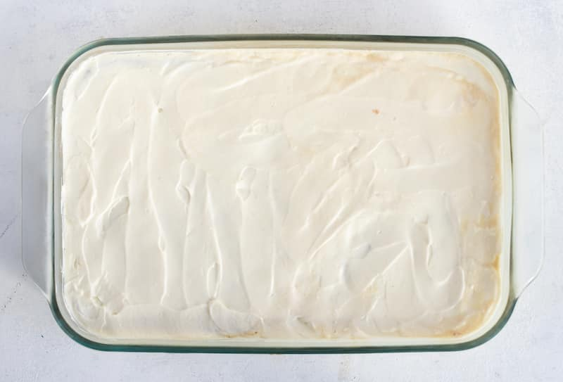 tres leches cake, in process