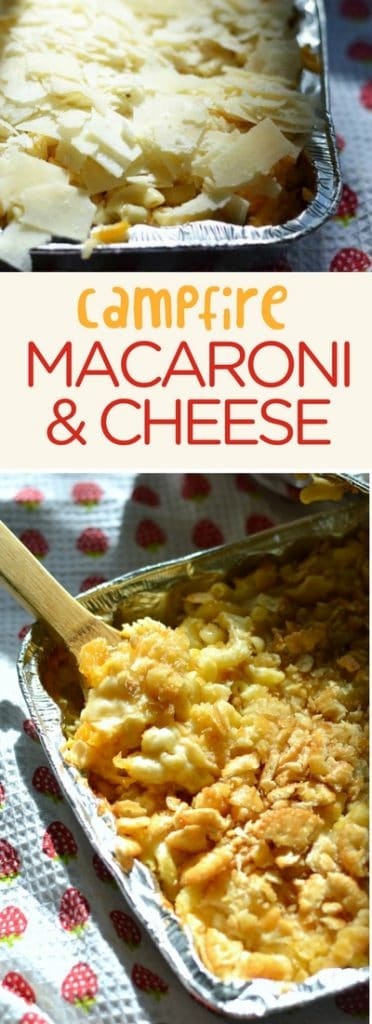 Campfire macaroni and cheese can be a pre-made meal! You can close that pan up and pop it into the fridge until it's time - a couple of days is fine. Pack it up, and take it with you. Then put it on your campfire to get melty and delicious. #campfire #macaroniandcheese #makeahead