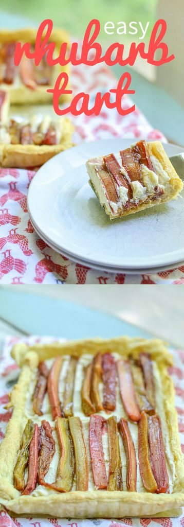 An easy rhubarb tart with creamy mascarpone filling and a puff pastry crust. A puff pastry dessert recipe full of delicious rhubarb!