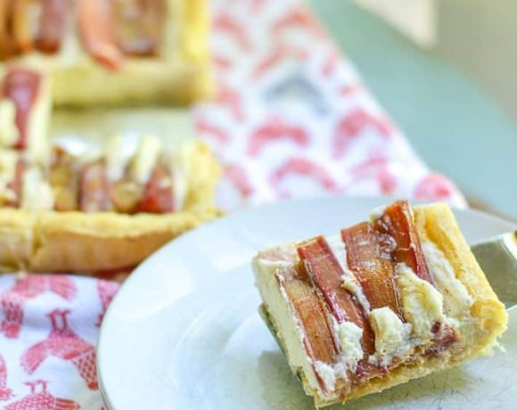 easy rhubarb tart made with puff pastry. An easy summer dessert recipe!