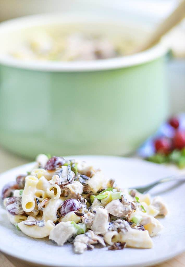 This Chicken Wild Rice Pasta Salad recipe adds in elbow macaroni and additional wet ingredients to compensate for the added dryness. It still stays true to the traditional chicken and wild rice salads...with an improvement of delicious pasta. It is creamy, bright, earthy, and satisfying. You'll want to bring this to your next potluck!
