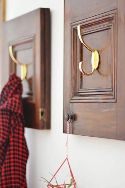 repurposed cabinet door into a coat rack