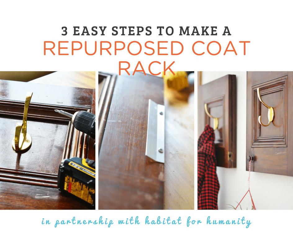 3 easy steps to create this repurposed cabinet door coat rack!