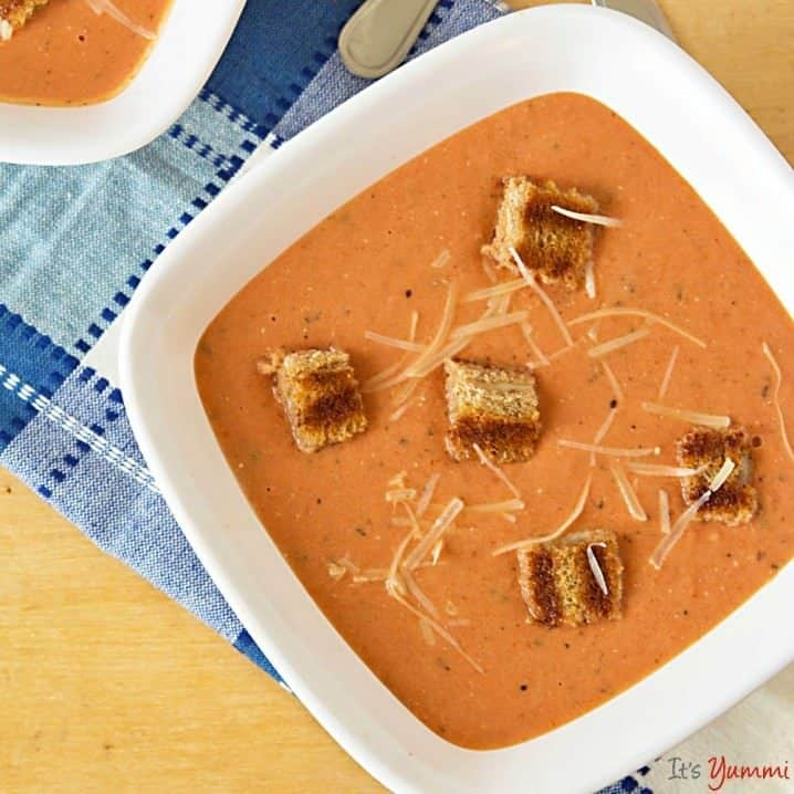 homemade-cream-of-tomato-soup-grilled-cheese-croutons-simple comfort food