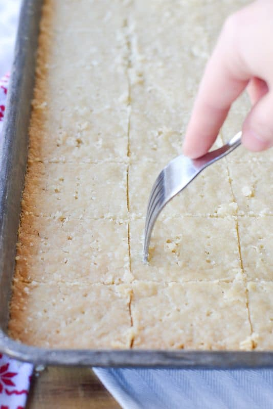Shortbread Cookies - cutting with fork