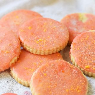 grapefruit shortbread cookies in a pile