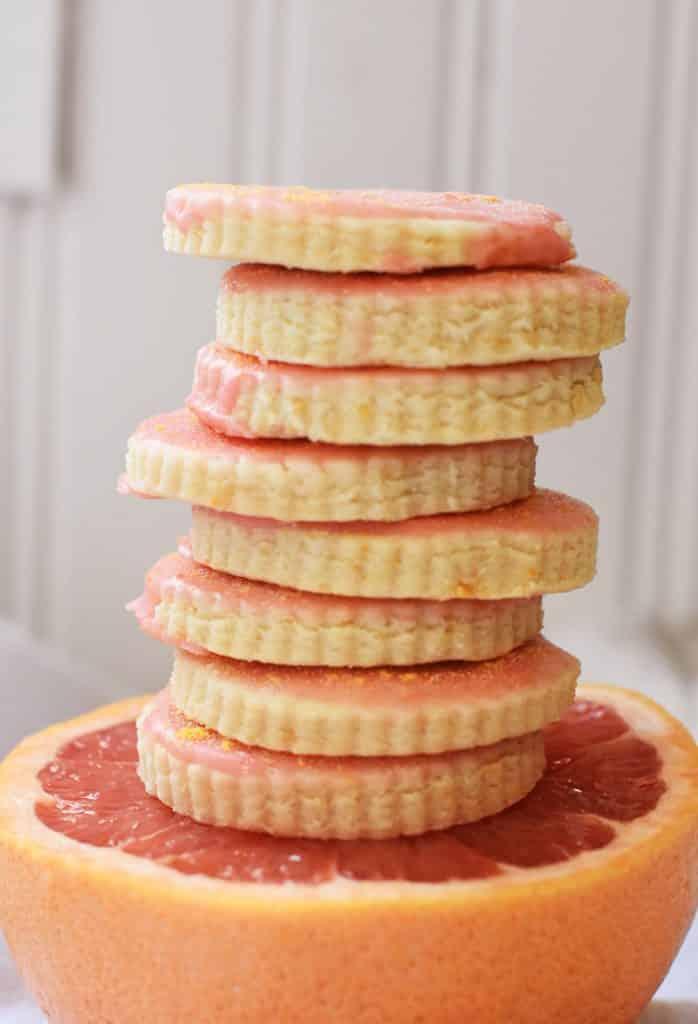 stack of grapefruit shortbread cookies