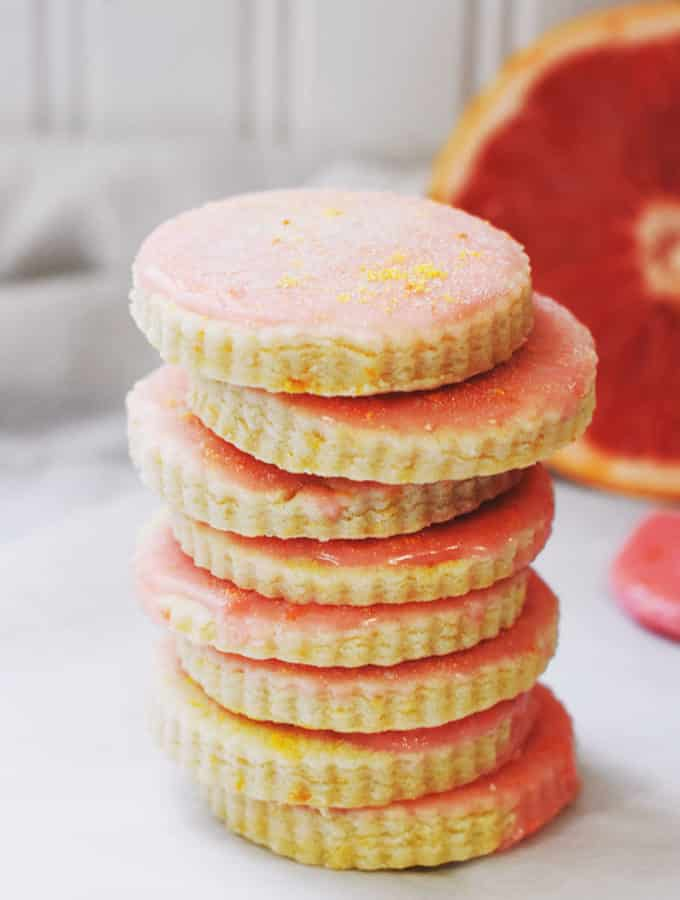 Lovely grapefruit shortbread cookies are buttery, delicate, and full of bright citrus flavor