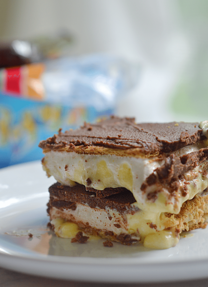 S'mores Chocolate Eclair No-Bake Dessert Bars