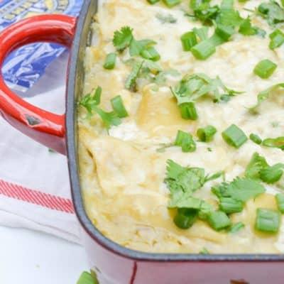 easy Chicken Enchiladas with green chilis