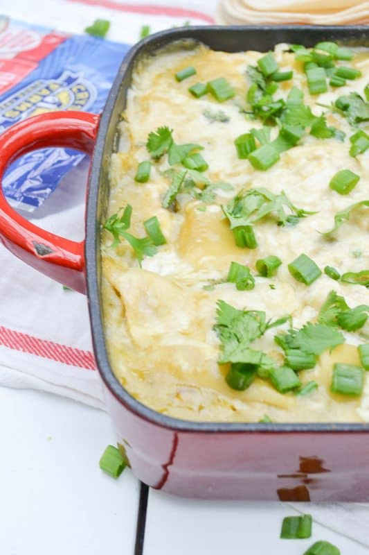 Easy Chicken Green Chili Enchilada Casserole Recipe. An easy meal idea for busy families!