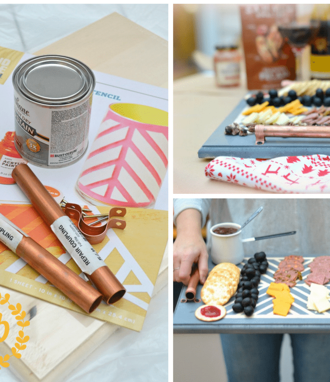 Serve crackers with jam & cheese in style with this beautiful DIY copper handled serving tray. This DIY project is easy and fun, and it makes a great gift!