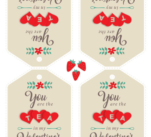 Simple tags to add to tea bags to create a sweet DIY Valentine for friends and neighbors. Free printable!