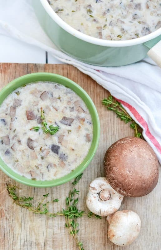 "This gourmet mushroom soup recipe features 2 kinds of mushrooms and a ""secret"" ingredient. It is easy, fast, and absolutely delightful! Upgrade your creamy mushroom soup to this delicious recipe."