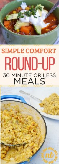 A round-up of 30-minute simple comfort food recipes. Perfect for a busy weekday winter night!