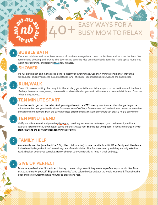 40+ ways for a busy mom to relax