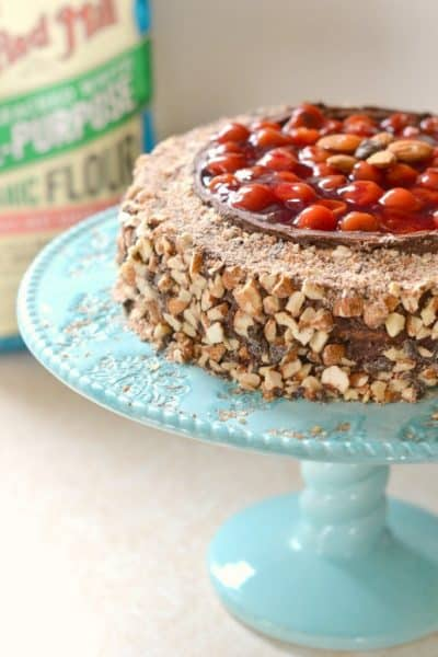 the BEST Chocolate Cherry Almond Cake