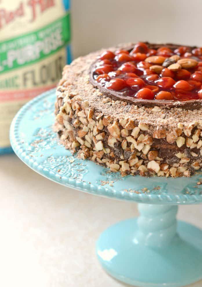the BEST Chocolate Cherry Almond Cake