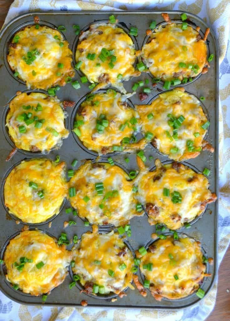 These cheesy breakfast sausage egg cups are fast, easy to make, delicious, and portable. Perfect for the busy family mornings!