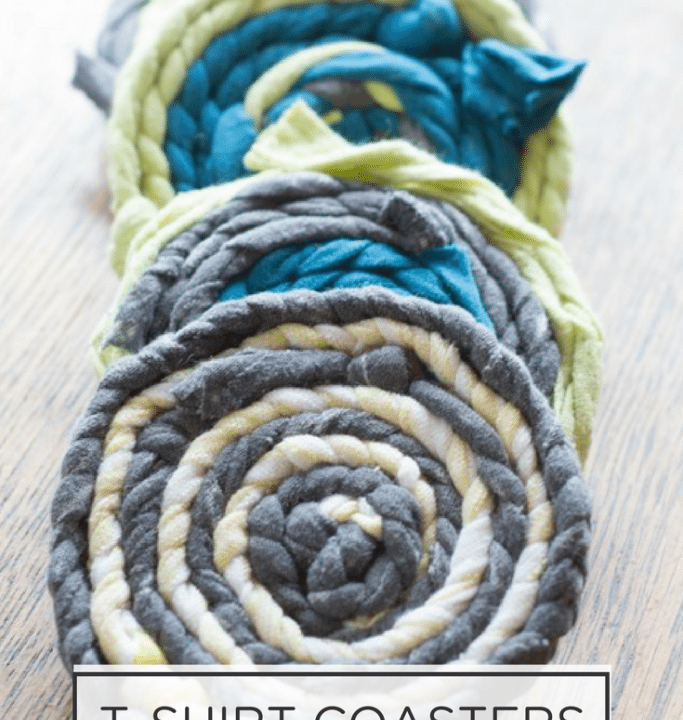 create these adorable coasters out of recycled t-shirt coasters with this easy tutorial.