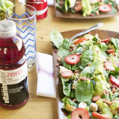 Grilled Chicken Strawberry Salad with avocado dressing