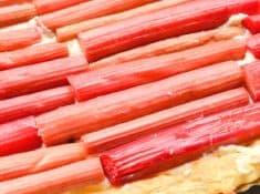 easy Rhubarb Puff Pastry Tart recipe. A great summer dessert recipe to use up the abundant rhubarb!
