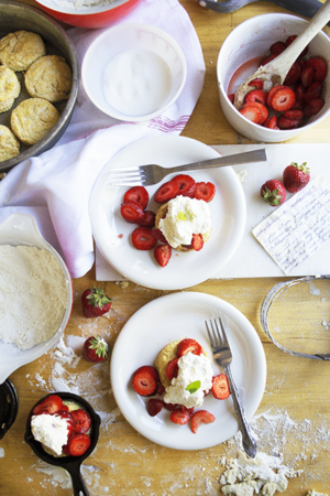 strawberry shortcake recipe. Old-fashioned biscuits with sweet strawberries and homemade whipping cream.