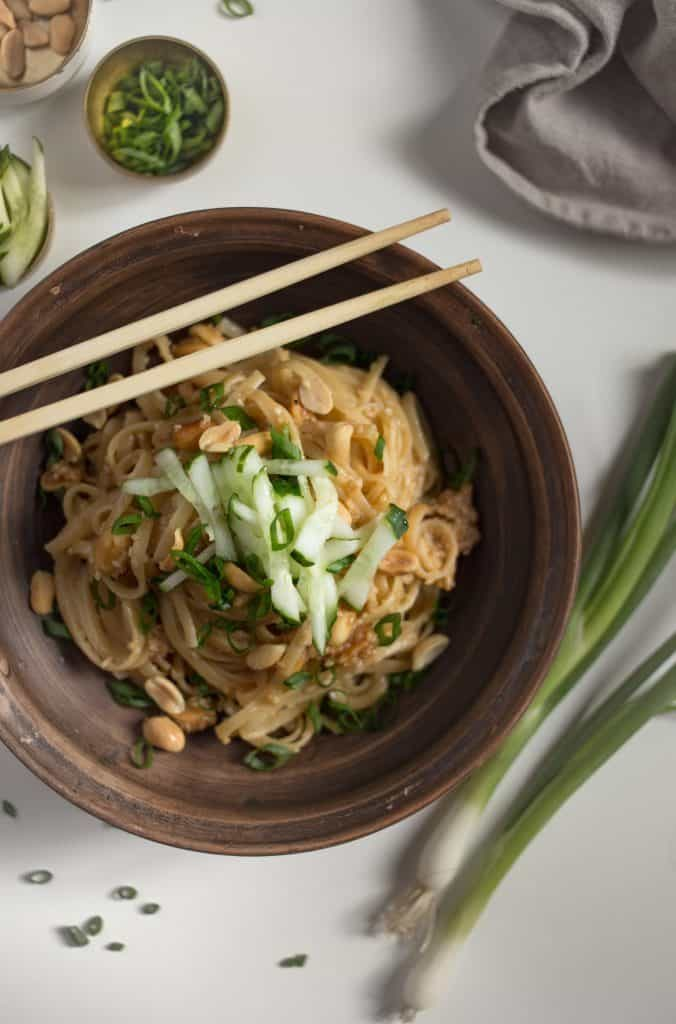 delicious, easy homemade peanut noodles you can make in less than 30 minutes with pantry ingredients!