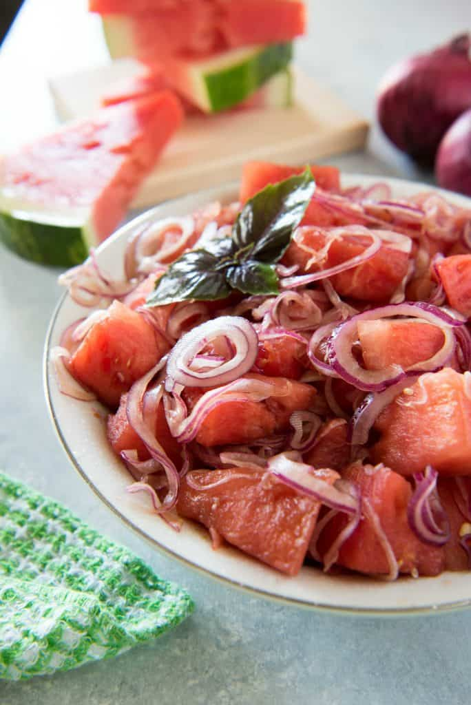 Watermelon Red Onion Salad is a delightfully refreshing summer salad!