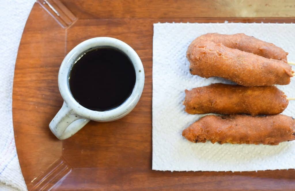 breakfast corndogs (pancakes and sausage on a stick)