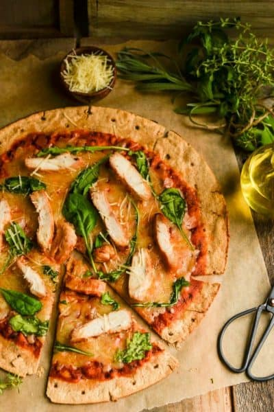 easy Chicken & Arugula pizza on whole-wheat crust
