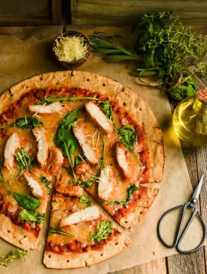 easy Chicken & Arugula pizza on whole-wheat crust